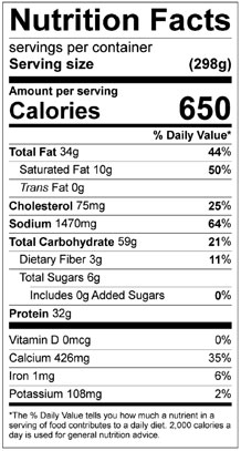 Nutrition Facts Of Spinach Tortilla Nutrition Ftempo